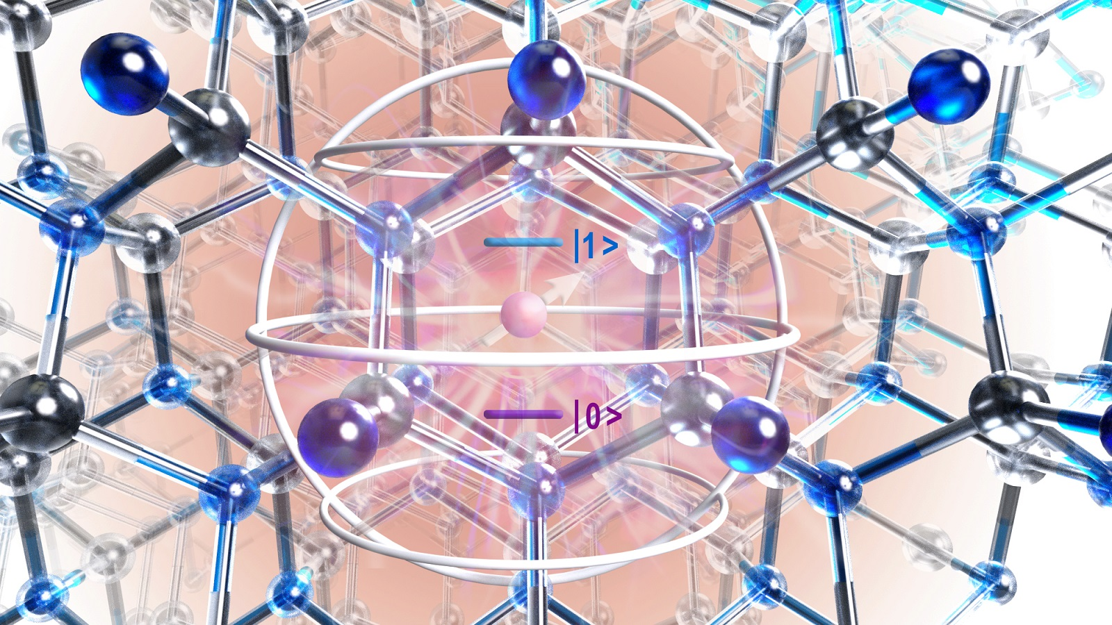 Artistic rendering of atomic structure of silicon carbide crystal showing defect (purple circle) and region of interest identified with quantum mechanical theory (silver sphere). (Image by University of Chicago.)