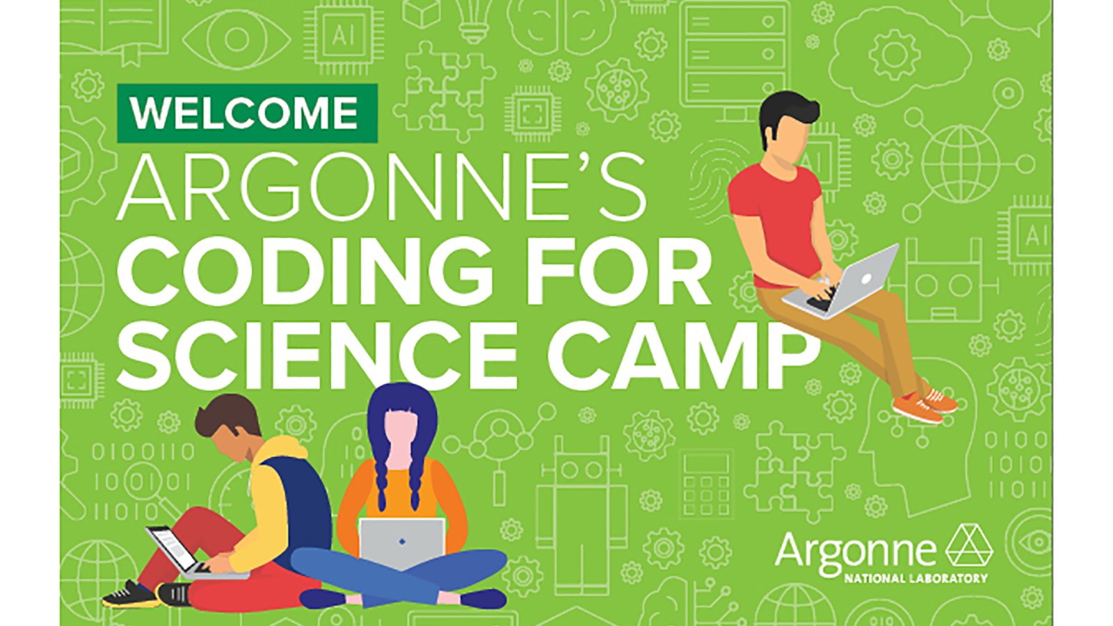 Learning Center instructors created many fun and colorful graphics to welcome students into the Virtual Coding for Science Camp experience. (Image by Argonne National Laboratory.)
