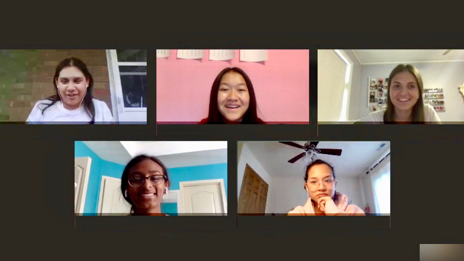 High school students taking part in Big Data Camp meet virtually with Guadalupe Medina (upper left), a Community College Internship (CCI) Program intern working in Argonne's Strategic Security Sciences Division (specifically in cybersecurity).
