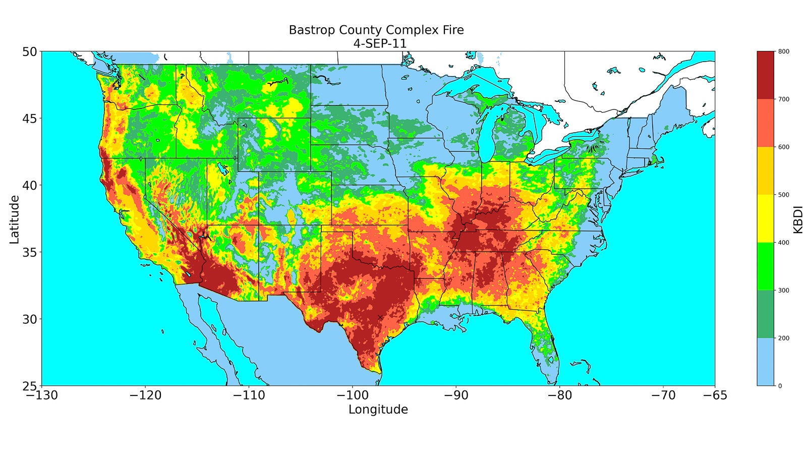 Predicted KBDI index on September 4, 2011, when the Bastrop County Complex Fire started in Texas. It was the most destructive wildfire in Texas history. (Image by Emily K. Brown, Argonne National Laboratory. [She made it while she was here as a student. She is no longer at Argonne.])
