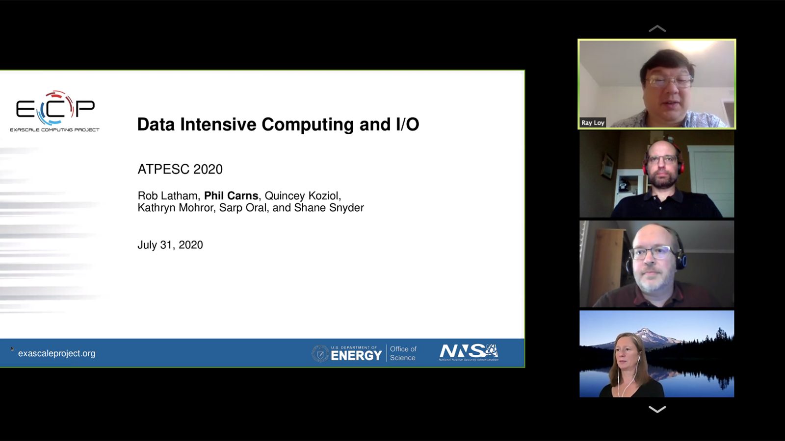 Ray Loy (Argonne), Rob Latham (Argonne), Phil Carns (Argonne) and Kathryn Mohror (Lawrence Livermore National Laboratory) kick off a day of training on data-intensive computing and I/O. (Image by Argonne National Laboratory.)