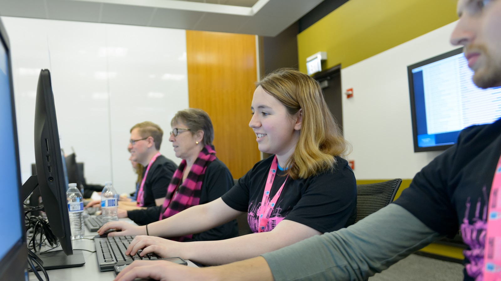 The U.S. Department of Energy will host the first-ever individual CyberForce Competition on November 14. Here, Jocelyn Murray, a Lewis University student, watches the action during the previous contest in late 2019. (Image by Argonne National Laboratory.)