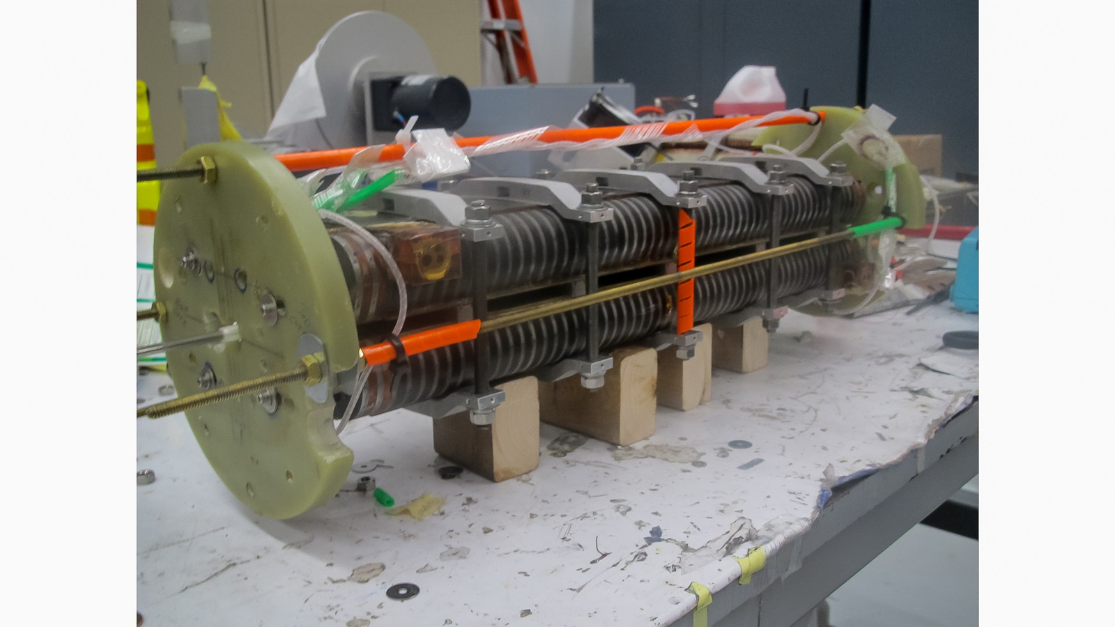 This half-meter-long prototype of a niobium-tin superconducting undulator magnet was designed and built by a team from three U.S. Department of Energy National Laboratories. The next step will be to build a meter-long version and install it at the Advanced Photon Source at Argonne.