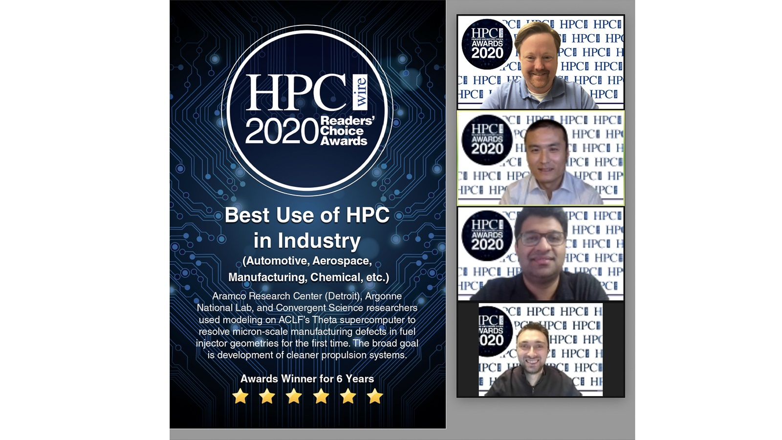 A group of engineers, including Argonne's Sibendu Som and Roberto Torelli, won a Readers' Choice Award for Best Use of HPC in Industry. (Image by HPCwire.)
