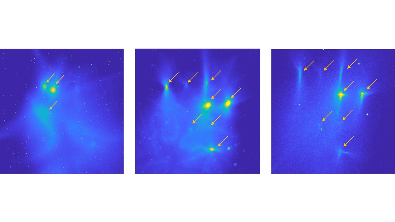 Electron beamlets as observed on YAG screens at varying distances from a cathode source. (image by Argonne National Laboratory.)