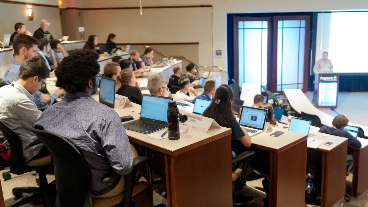 Attendees at ATPESC, an annual training program that provides specialized, in-depth training to doctoral students, postdocs and computational scientists on today's most powerful supercomputers. (Image taken in 2019 by Argonne National Laboratory.)