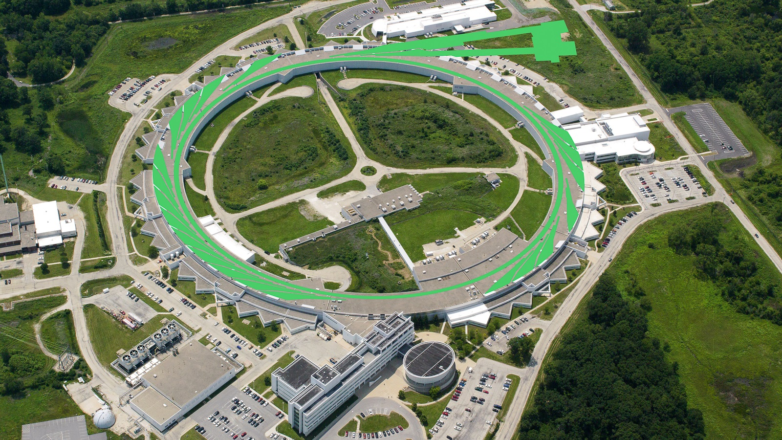 Aerial view of Advanced Photon Source, superimposed image ofo rec green swirls over ring, lines leading off to twtangular shapes. (Aerial photo by Tigerhill Studios. Illustration by Mark Lopez/ Argonne National Laboratory.)