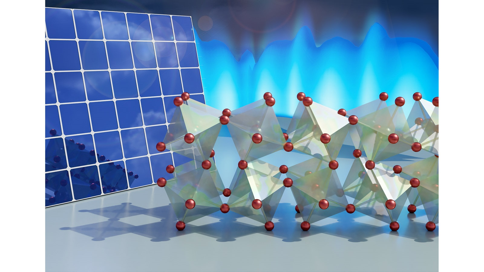 Illustration of the crystal structure of the perovskite. The molecules rotate about their hinges in two dimensions, which could explain the material's photovoltaic abilities. (Image by Jill Hemman, Oak Ridge National Laboratory.)