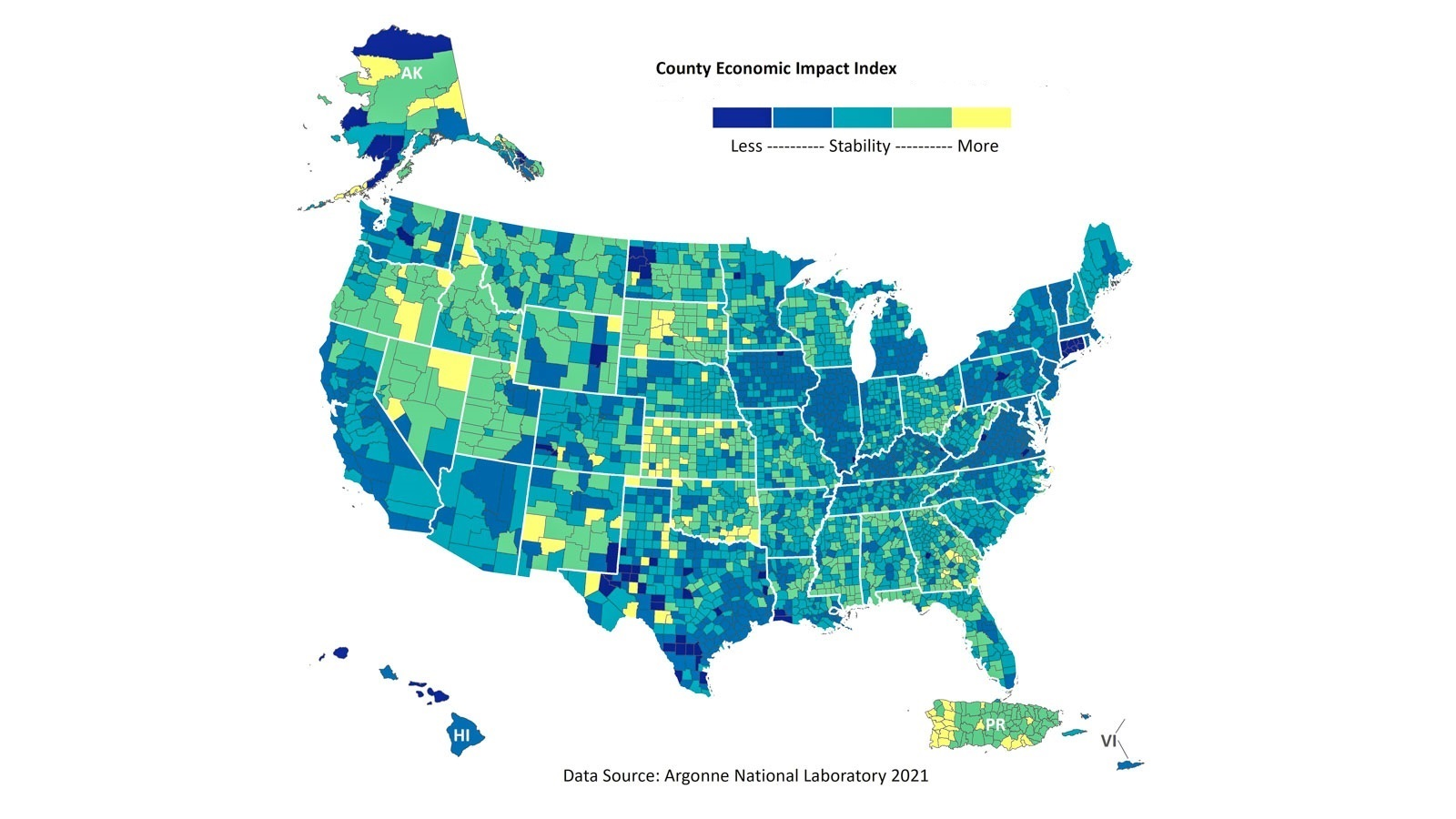 This map shows regions — down to the county level — whose local economies may be more adversely affected during medium- to long-term disruptions. Darker colors indicate the least stable counties. (Image by Argonne National Laboratory.)