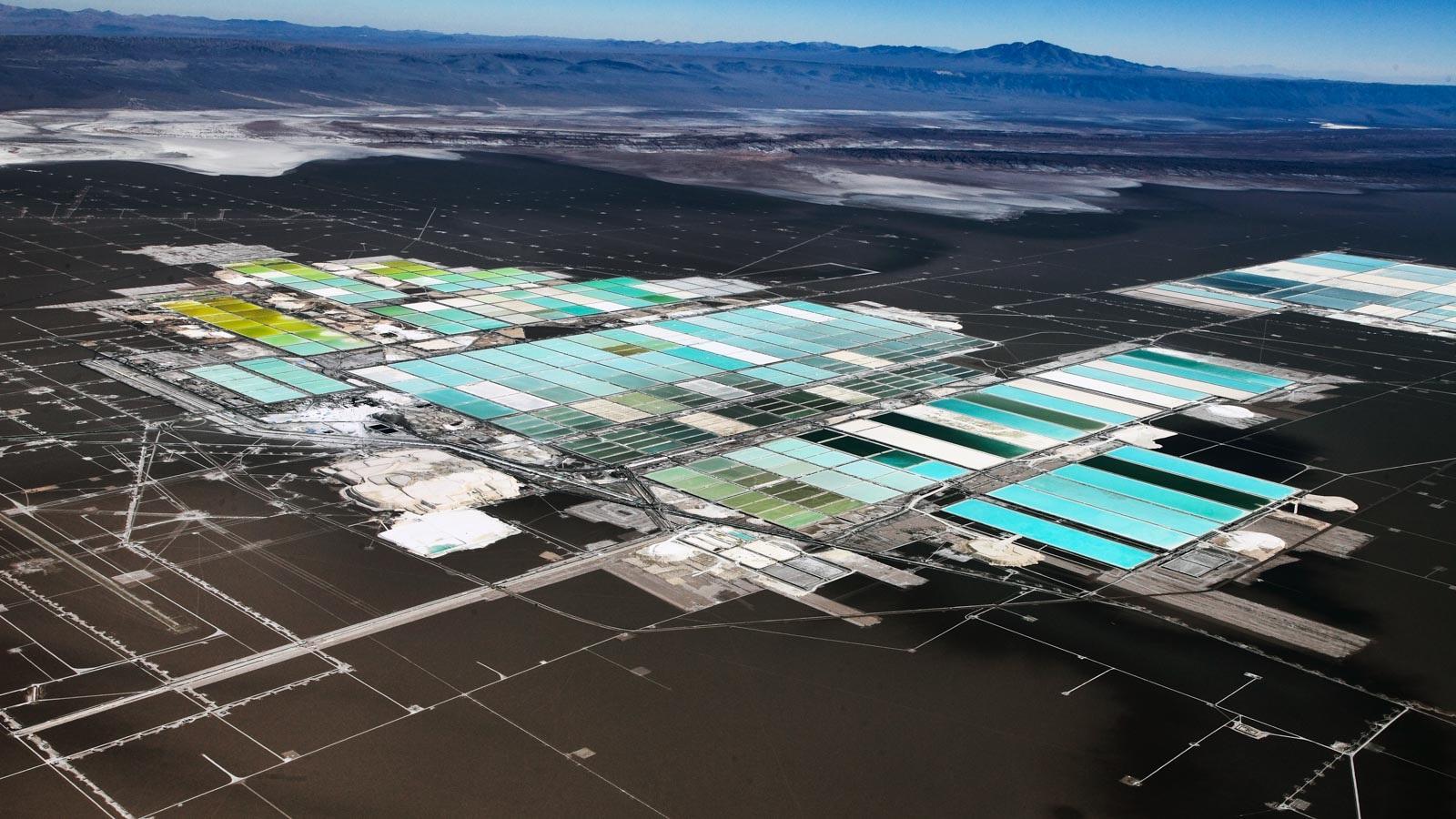 Evaporation ponds at SQM's lithium mining site in the Salar de Atacama, in Chile. (Image by SQM.)