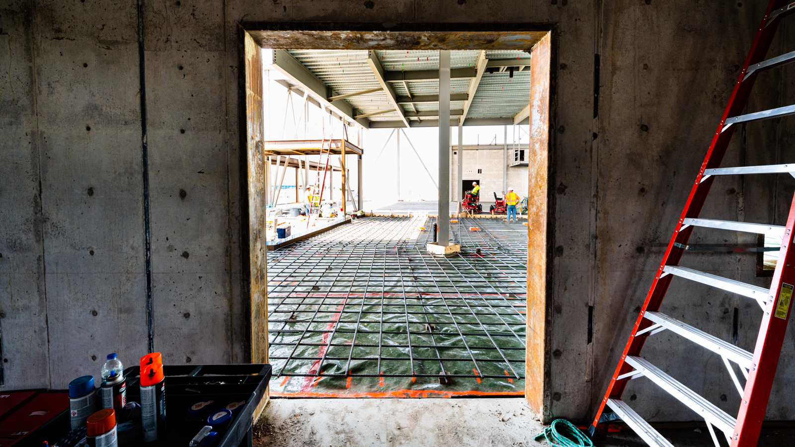 The framework for the outermost wall of the Activated Materials Laboratory. (Image by Jason Creps/Argonne National Laboratory.)