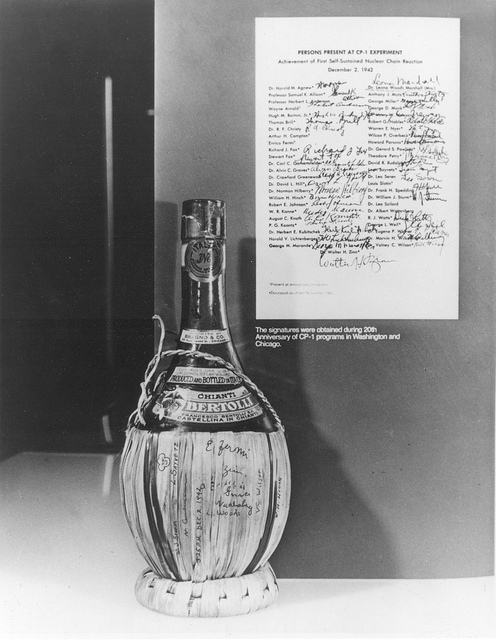 Chianti bottle with list of original participants