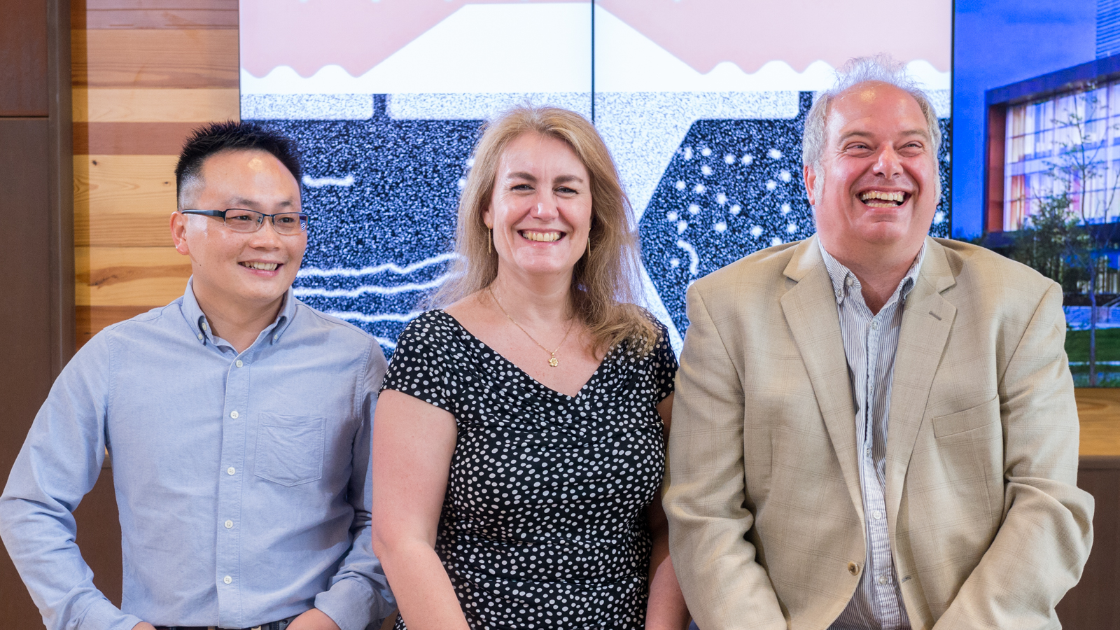 From left to right: Argonne researchers Wanjun Jiang, Suzanne G.E. te Velthuis, and Axel Hoffman published a new way to make magnetic skyrmion bubbles at room temperature. Photo by Mark Lopez/Argonne National Laboratory.