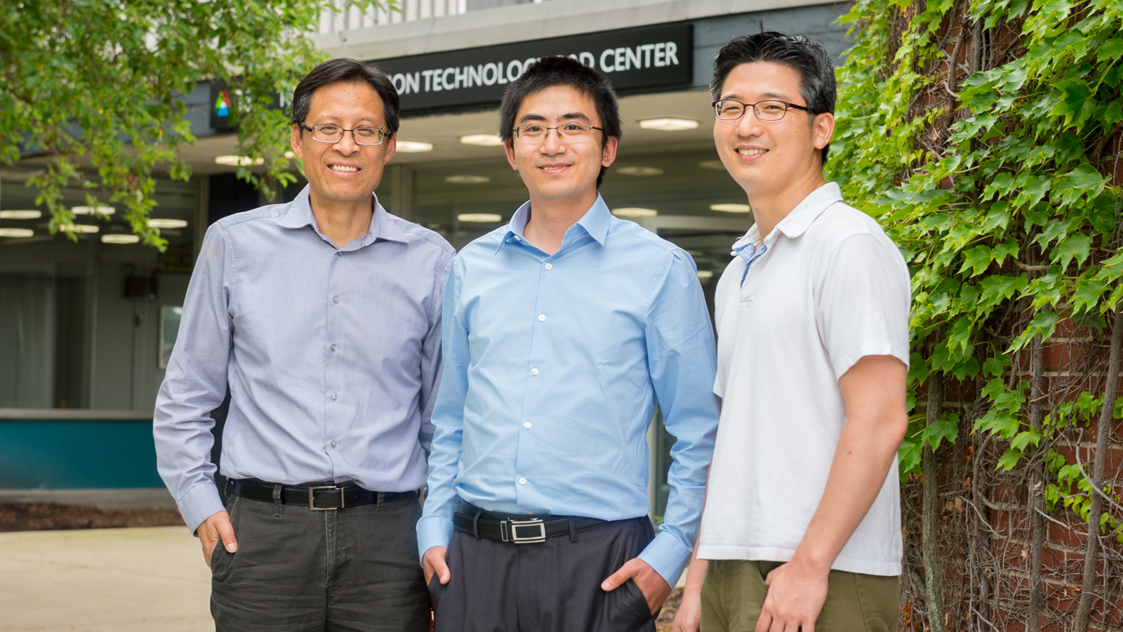 A new study by Argonne analyzes the life-cycle carbon impacts of fuels derived from Canadian oil sands. The study was conducted by, from left, senior scientist and group lead Michael Wang, principal investigator Hao Cai, energy systems analyst Jeongwoo Han, and life-cycle analysis team lead Amgad Elgowainy (not pictured). Photo by Mark Lopez.