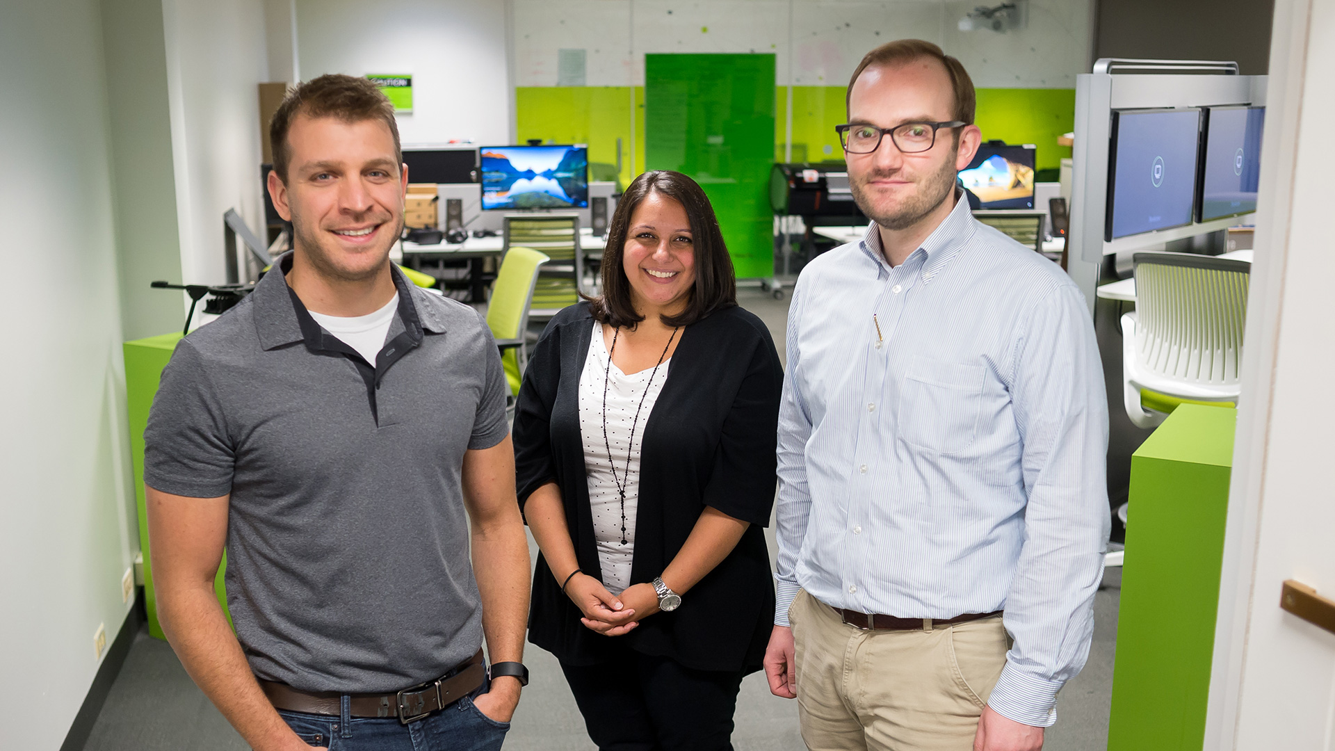 (From left) Scott Schlueter, Carmella Burdi and Tom Wall of the GRID-M team. Not pictured from the GRID-M team is Kyle Pfeiffer. (Image by Argonne National Laboratory.)