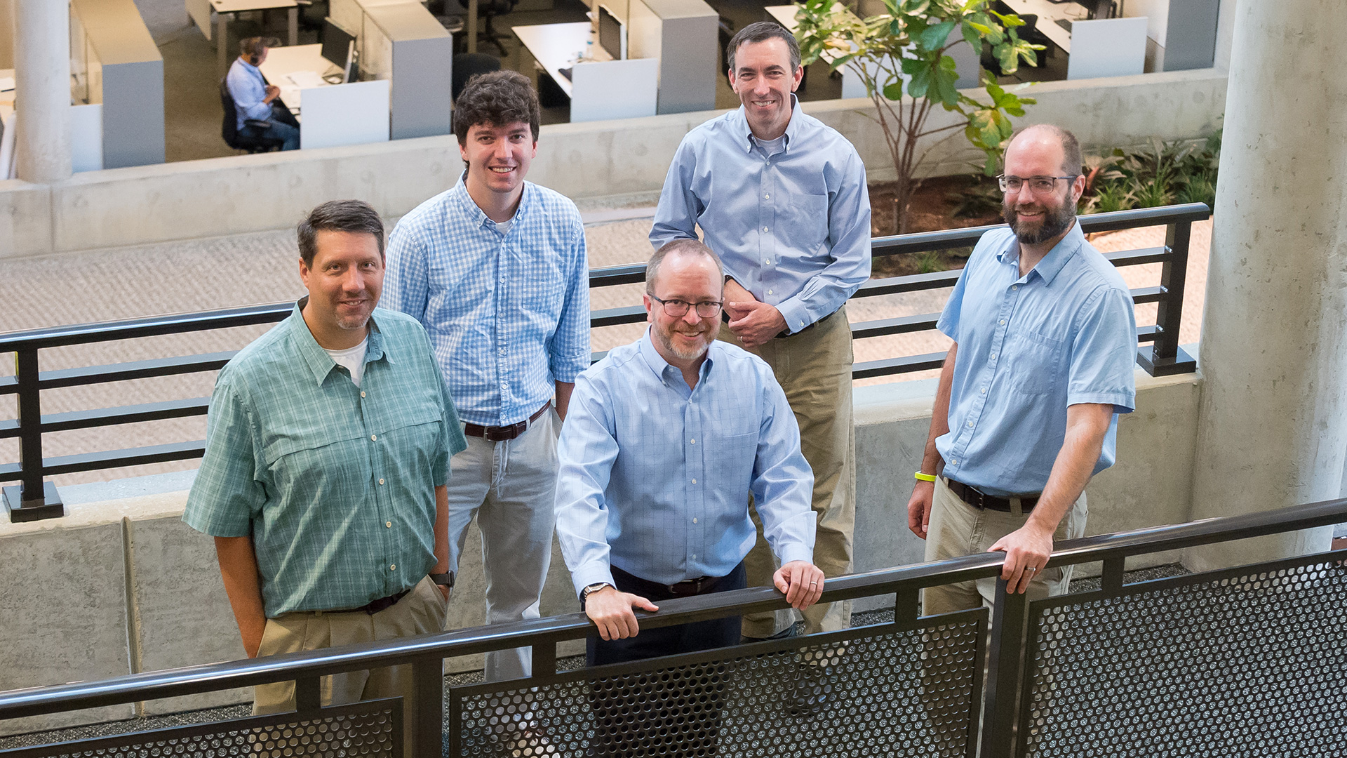(From left) Kevin Harms, Shane Snyder, Philip Carns, Robert Ross and Robert Latham of the Darshan team. (Image by Argonne National Laboratory.)