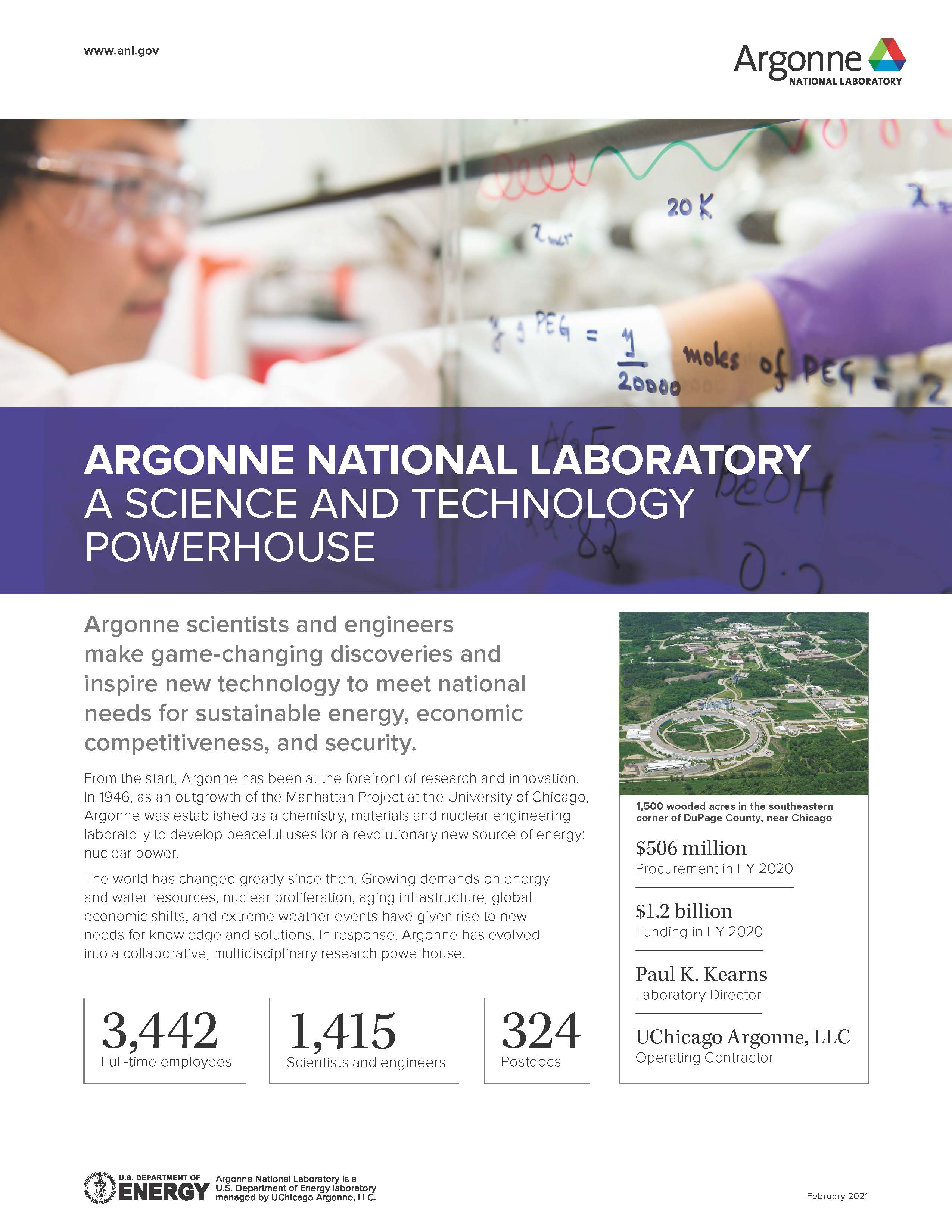 Factsheet about Argonne with photo of scientist working in a laboratory