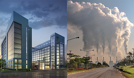images of high-rise building and power plant steam emissions