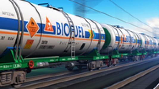 Train cars carrying biofuel