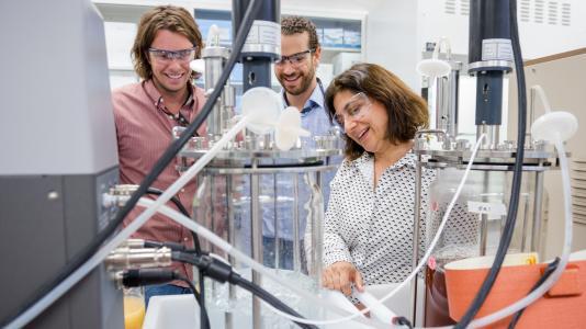 Chain Reaction Innovation entrepreneurs Justin Whiteley and Tyler Huggins work with Argonne scientist Meltem Urgun-Demirtas