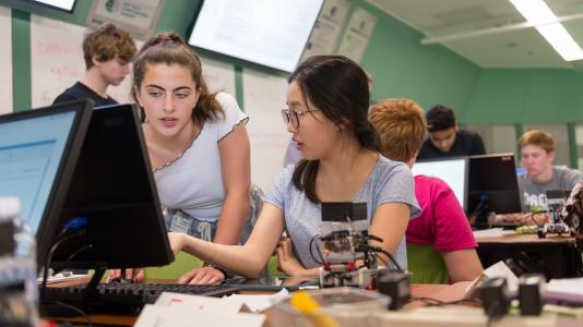 Students practice new skills taught in the 2017 coding camp.