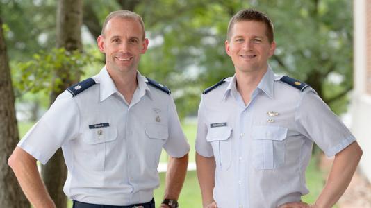 """Lt. Col. Chris Snyder and Maj. Sean """"Skeet"""" Richardson"""