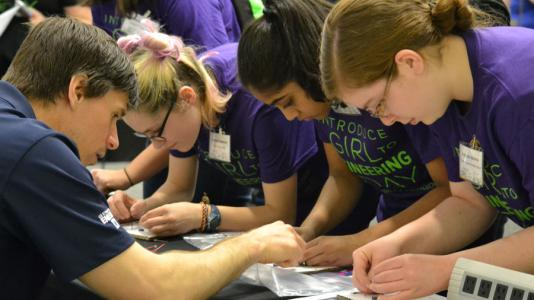 Girls participating in Introduce a Girl to Engineering Day.
