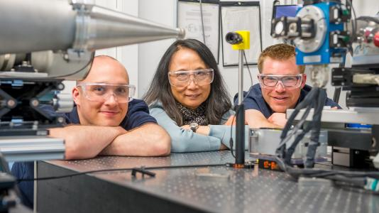 Argonne chemists Dugan Hayes, Lin Chen, and Ryan Hadt have identified a rapid electronic process that could aid the water-splitting reaction in cobalt-containing catalysts.