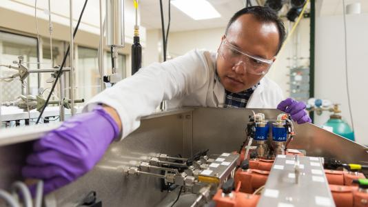 Argonne researcher prepares to synthesize catalysts using atomic layer deposition.