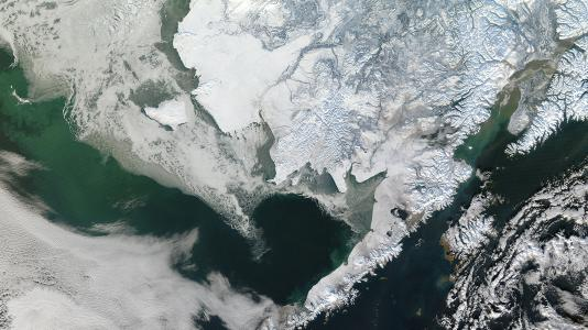 Winter snow blankets southwest Alaska on January 12, 2011, bringing the varied topography of the region into sharp relief. Photo courtesy NASA/GSFC/Jeff Schmaltz/MODIS Land Rapid Response Team.