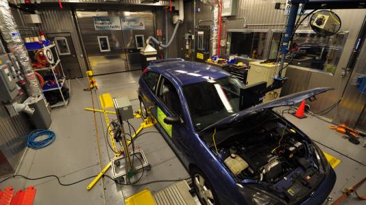 Chassis dyno testing  in Argonne's high-fidelity testing environment