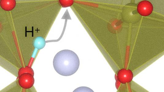 When scientists add or remove a proton (H+) from the perovskite (SmNiO3 (SNO)) lattice, the material's atomic structure expands or contracts dramatically to accommodate it in a process called 'lattice breathing,'