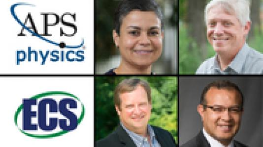 APS Physics and ECS logos with photos of four researchers appointed fellows of scientific societies