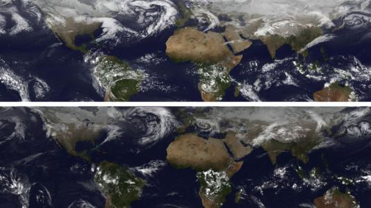 Top image is taken from a computer simulation at a specific point in time during the first 90 hours into a 20-day run of a detailed global atmospheric model. The bottom image was taken by NASA's GOES satellite at the same point in time.