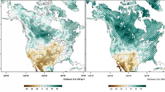 Two sample maps show different scenarios to project how much more (green) or less (brown) it would rain in a ten-year period at the end of the century versus how much it rained in 1995-2004.