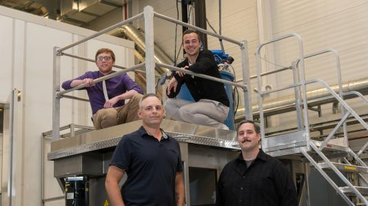 A recent Argonne study has called into question the existence of silicene, thought to be one of the world's newest and hottest two-dimensional nanomaterials. Pictured are researchers (clockwise from bottom left) Nathan Guisinger, Andrew J. Mannix, Brian Kiraly and Brandon L. Fisher. Photo credit: Wes Agresta, Argonne National Laboratory.