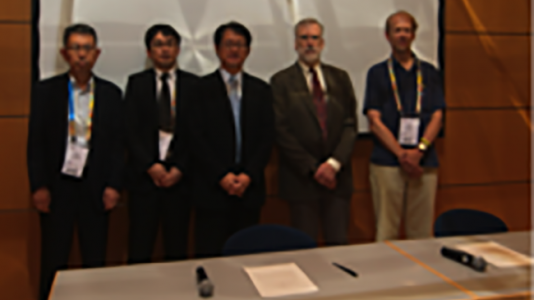 Yutaka Ishikawa, Shinya Tahata,and Yoshio Kawaguchi (Japan), William Harrod (DOE), and Pete Beckman (Argonne) at MOU-signing ceremony (Photo courtesy of Tim Krieger)