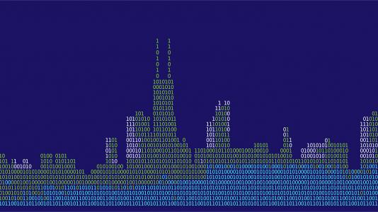 Image of Chicago Skyline using computer code