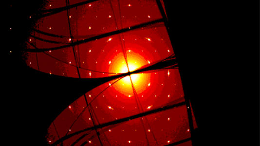 This shows X-ray diffraction on a single crystal of an antiferromagnetic material. This material, scientists found, exhibits an extremely large anomalous Hall effect, a sign of its topological character. (Image by Argonne National Laboratory.)