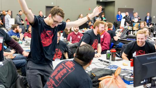 Earlier in 2018, Lewis University bested 24 other university teams nationwide during the previous multi-laboratory CyberForce Competition. (Image by Argonne National Laboratory.)
