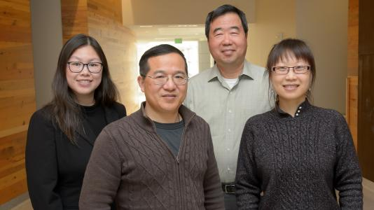 Argonne scientists Maria Chan, Jianguo Wen, Di-Jia Liu and Lina Chong have discovered a way to reduce the amount of platinum needed in catalysts for hydrogen fuel cells. (Image by Argonne National Laboratory.)