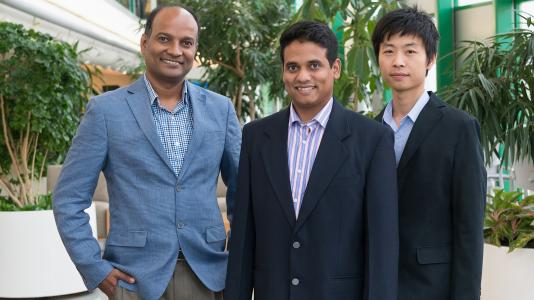 Principal investigator Subramanian Sankaranarayanan (left), and co-principal investigators Mathew Cherukara (center), Henry Chan (right) and Badri Narayanan (not pictured) are developing a new machine learning based software that will enable industry to more quickly and efficiently perform the molecular dynamics simulations they need to vet the performance of new materials for their products.