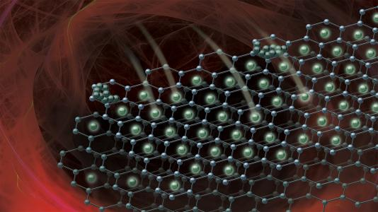 As lithium ions travel quickly between the electrodes of a battery, they can form inactive layers of lithium metal in a process called lithium plating.  This image shows the beginning of the plating process on the graphene anode of a lithium-ion battery. (Image courtesy of Robert Horn/Argonne National Laboratory.)