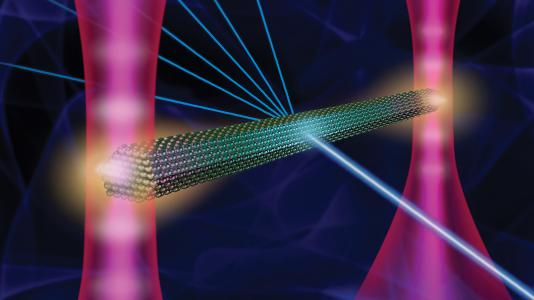 """Scientists have found a way to use """"optical tweezers"""" by employing lasers, a mirror and a light modulator to anchor a crystal in solution. The """"tweezers"""" have made it possible to conduct X-ray diffraction measurements of a crystal suspended in solution."""