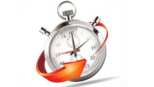 Silver pocket watch encircled by orange arrow.