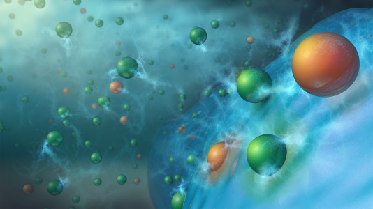 Charging results in doubly or triply charged metal cations, such as Mg2+ (orange spheres), along with singly charged lithium ions (green spheres) being co-inserted from the electrolyte into the silicon (blue spheres) anode material. This process stabilizes the anode, enabling long term cycling of lithium-ion batteries. (Image by Argonne National Laboratory.)