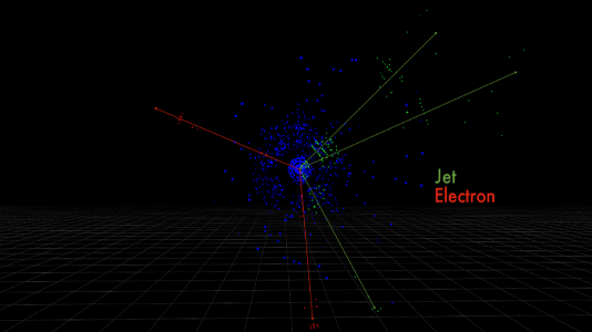 These are the detector pixels for electrons and quark jets produced by a simulated proton collision, measured by the ATLAS detector. (Image by Taylor Childers.)