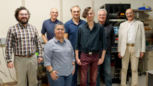 Superconducting nanowire team at Argonne. Left to right: Whitney Armstrong, John Pearson, Kawtar Hafidi, Valentine Novosad, Tomas Polakovic, Volodymyr Yefremenko and Zein-Eddine Meziani. Not shown: Goran Karapetrov (Drexel University). (Image by Argonne National Laboratory.)