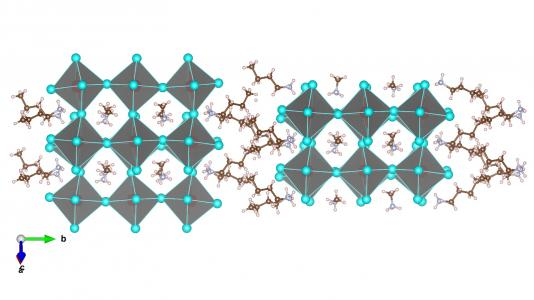 Two-dimensional (2D) Ruddlesden-Popper phase layered perovskites (BA)2(MA)2Pb3I10 with three layers of inorganic octahedral slab and bulky organics as spacers. (Image by Dave Tsai/Los Alamos.)
