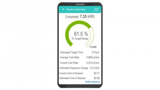 An image of a potential app that a driver may see when charging via the transactive framework.